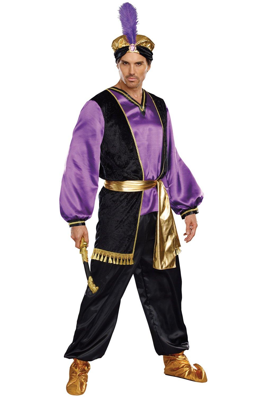 Dreamgirl Men's The Sultan Costume, Purple/Black/Gold, Medium