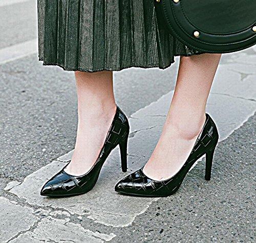 Women's Carolbar High Elegant Heel Toe Sexy Pointed Court Black Stiletto Shoes HfFrxdwqf