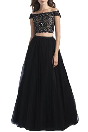 The Peachess 2 Pcs Little Black Prom Party Gown US2
