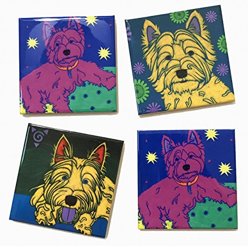 (Westie Tile Art Coaster Set, Dog Lover Collectible Gift by Angela Bond)