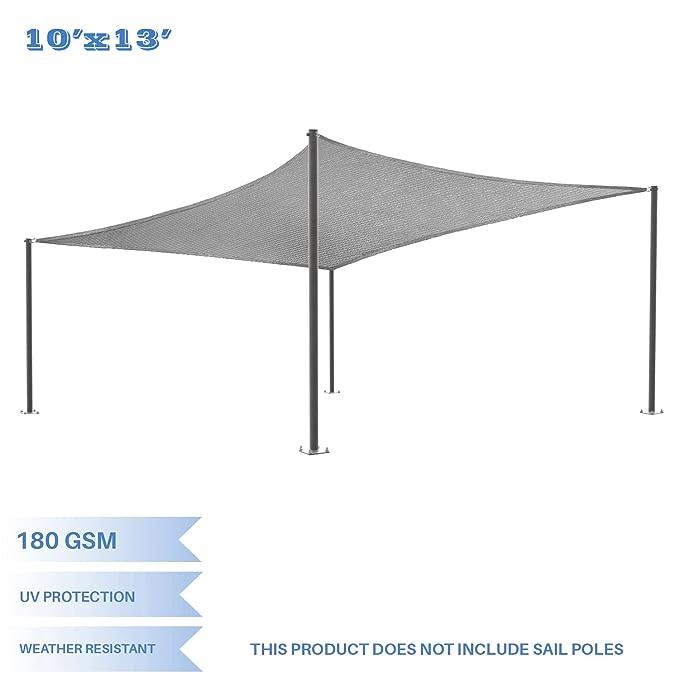 E&K Sunrise 10' x 13' Light Grey Rectangle Sun Shade Sail Outdoor Shade Cloth UV Block Fabric,Curve Edge-Customized