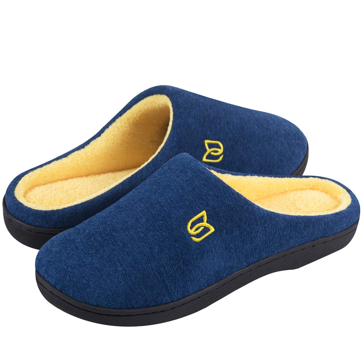 Men's Classic Memory Foam Slippers Comfort Plush Lining House Shoes for Indoor & Outdoor (Dark Blue/Maize, 40/41)