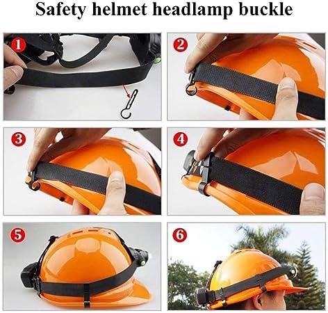 10 Haltbar Plastik Helm Clips Scheinwerfer Schutzhelm Safety Kappe Schwarz Neu