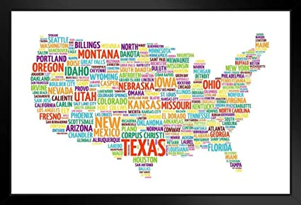 Home Décor USA United States Map States With Text Names ...