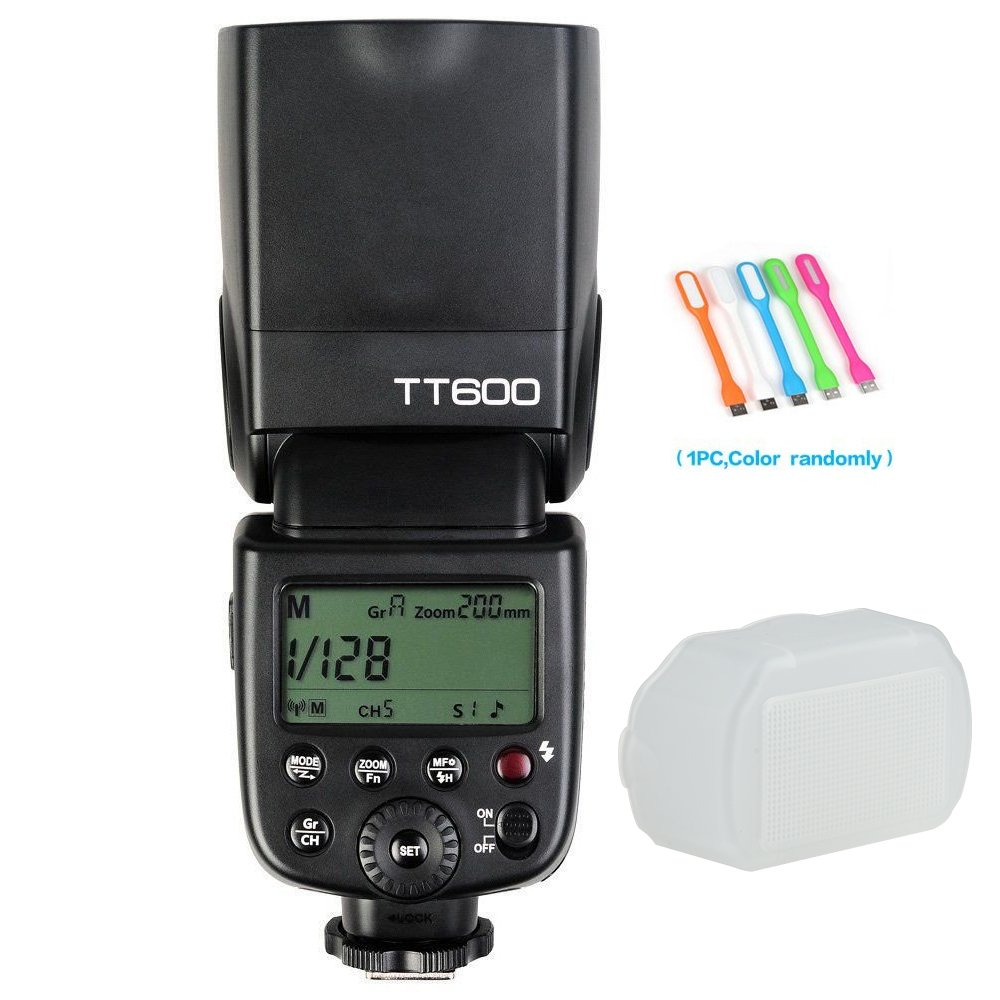 Godox TT600 Flash Speedlite Built-in 2.4G Wireless Transmission Compatible Canon,Nikon,Pentax,Olympus Other Digital Cameras Standard Hotshoe+ Diffuser+ CONXTRUE USB LED