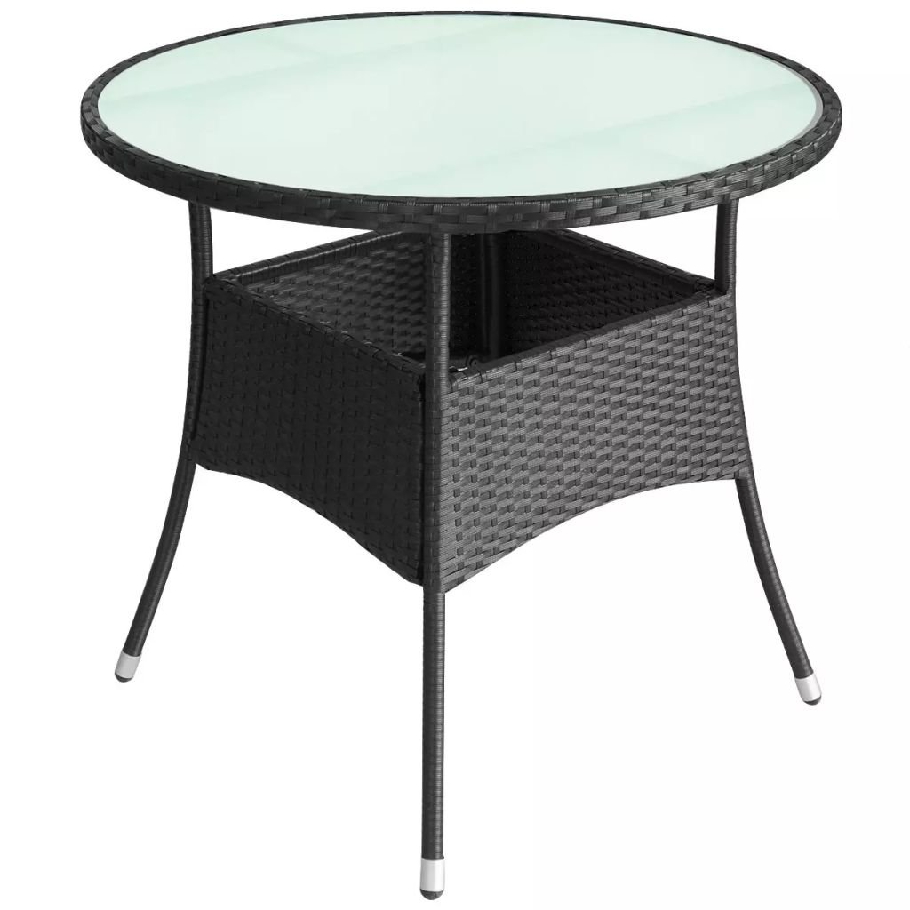 Daonanba Stylish Round Outdoor table Coffee table Dining Table Poly Rattan 35.4''x29'' Black