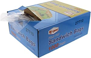 Ri Pac Fold Top Sandwich and Snack Bags- 7 x 1.5 x 7 inches - 1000 Count - Food Storage for Kids Lunch