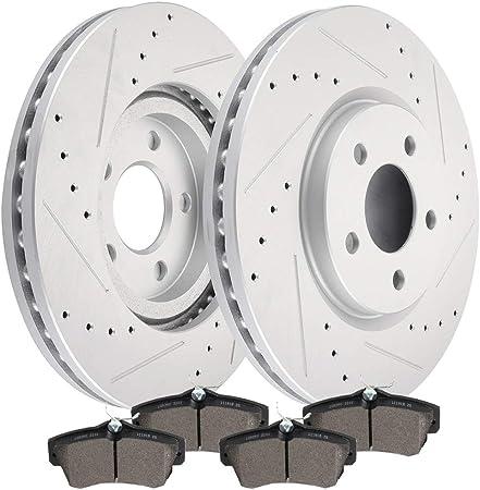 Dodge PT Cruiser Neon Rear  Drilled Brake Rotors+Ceramic Pads Fit Chrysler