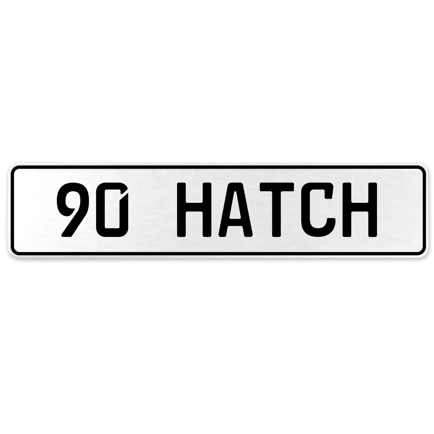 Vintage Parts 558449 90 Hatch White Stamped Aluminum European License Plate