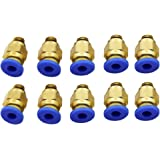Witbot PC4-M6 Straight Fitting 4mm thread M6 Connector for 3D Printer (Pack of 10 pcs )