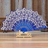 Chinese Style Bronzing Fan Folding Fan by Tuscom,Stamping Process Low-Key Fashion,9.05''/16.9'' for Dance Wedding Party Held Flower Fan (Blue)