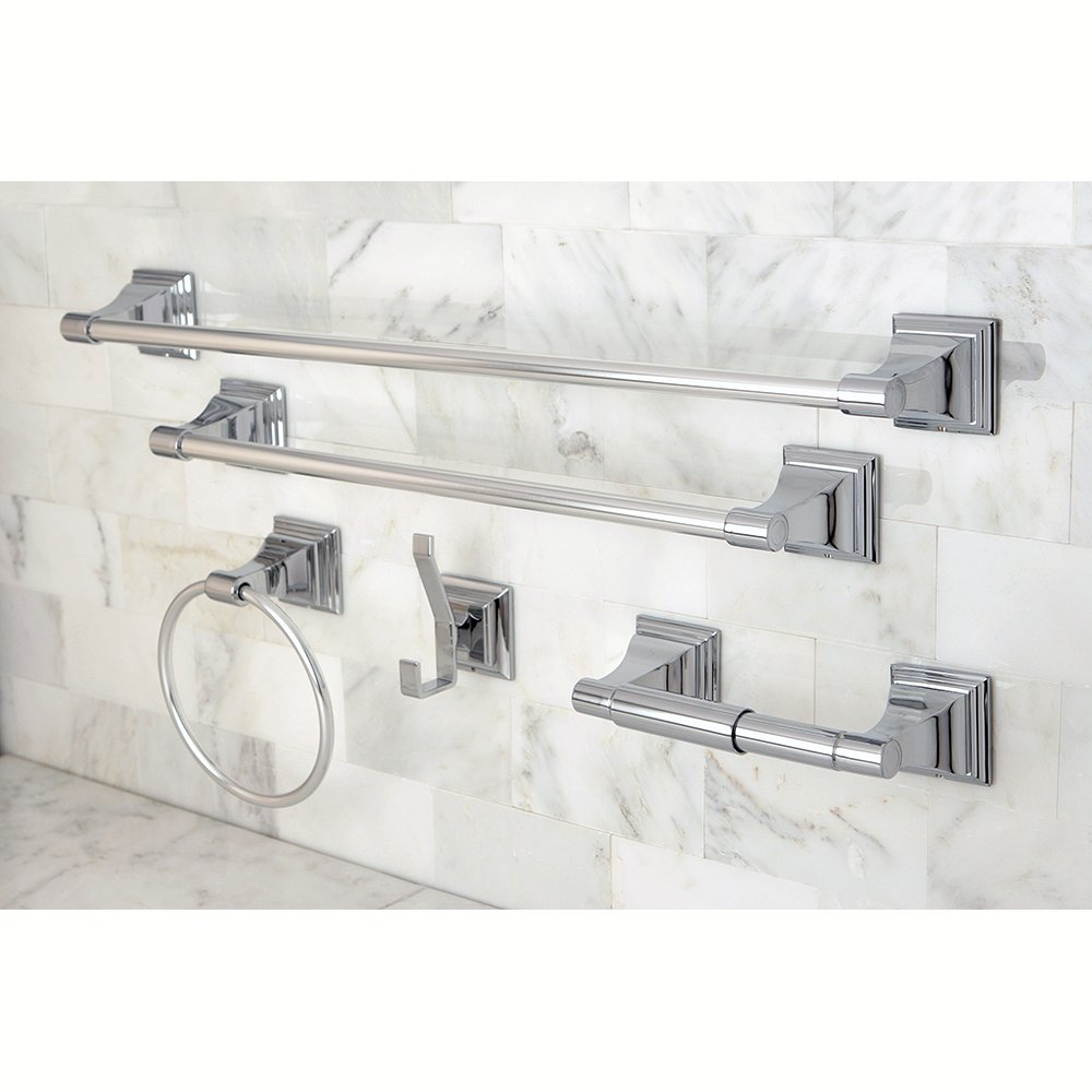 and 24 inch towel bar 6 inch towel ring toilet paper holder and robe hook monarch bathroom accessories 5 piece in set polished chrome amazoncom