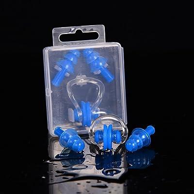 Asdomo adultes de piscine pour enfant Pince-nez en silicone Bouchons d'oreille Gel de silice étanche pour natation Surf plongée Eau d'exercice