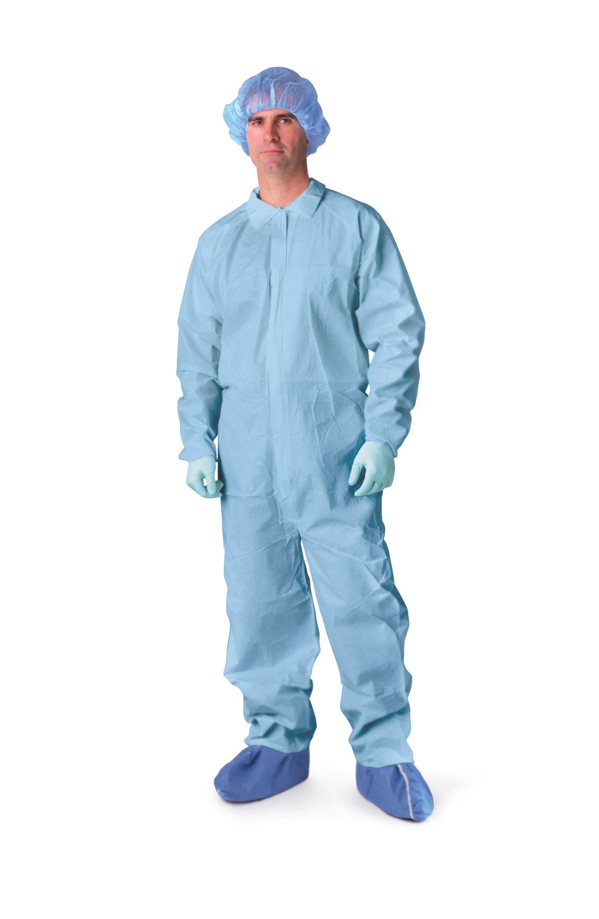 Medline NONCVP2XXL Prevention Plus Coveralls, XX-Large, Blue (Pack of 25)