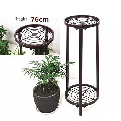 Estante de flores de madera ---- Negro / Canela / Blanco De Pie Hierro Dos Capas Simple Interior Soporte ...