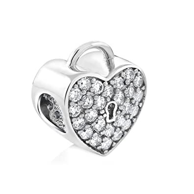 700055731 Image Unavailable. Image not available for. Color: Sterling Silver Heart  Lock Cubic Zirconia 11X13MM Bead Charm Compatible W/Pandora Bracelets