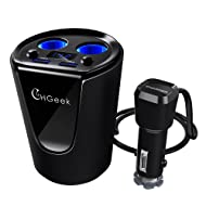 Car Charger, CHGeek 12V 24V 80W Car Cup Charger Multi-function Power Adapter with 2-socket Cigarette Lighter Splitter + Dual USB Ports 3.1A for iPhone Android Samsung Galaxy GPS Dash Cam (CH07)