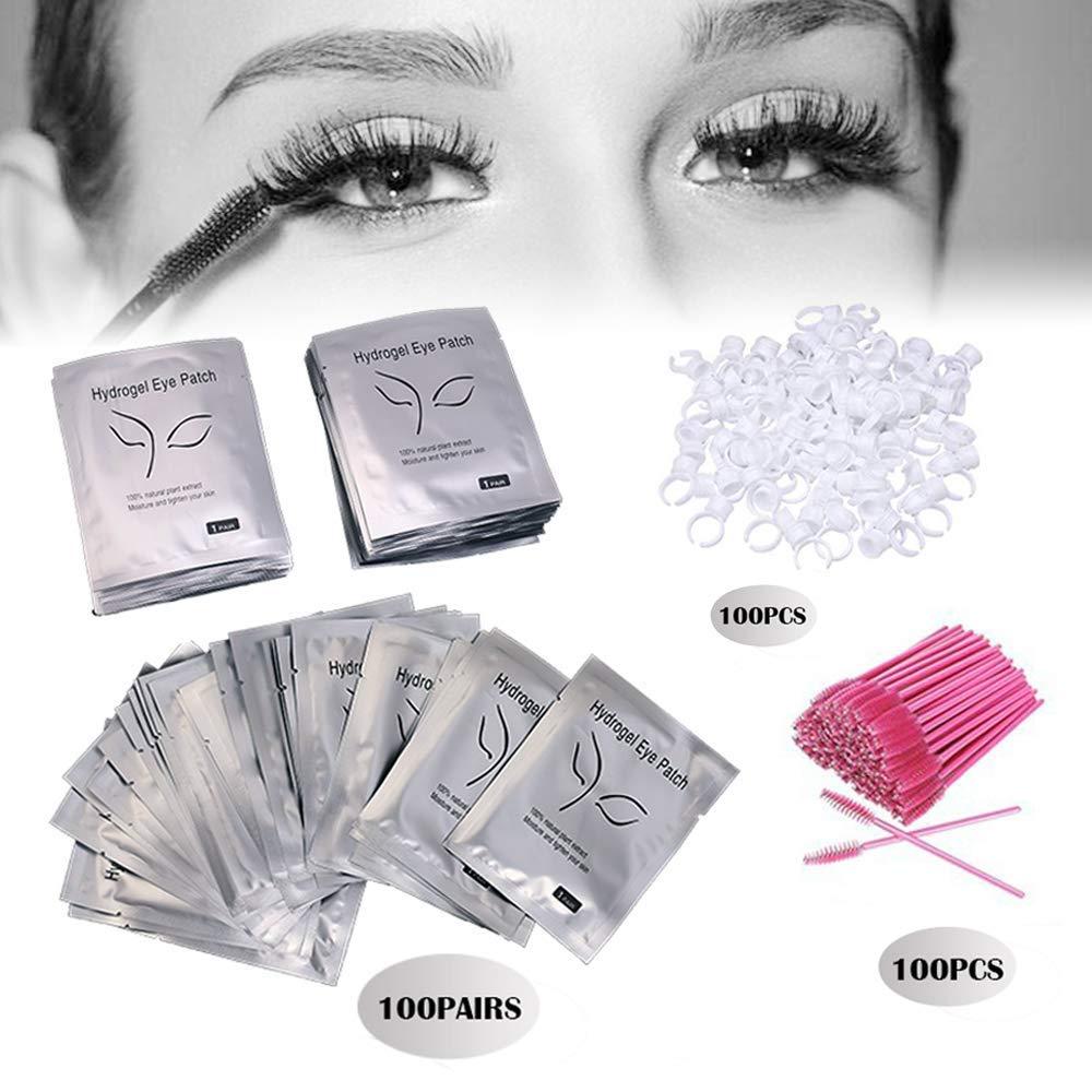 3x100 Packs- Under Eye Pads Lint Free Lash Extension Eye Gel Patches & Eyelash Mascara Brushes Wands Applicator Makeup Brush (300pck) by fenshine