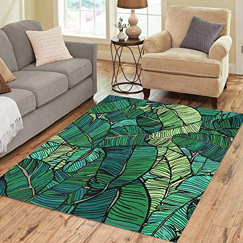 Pinbeam Area Rug Leaf Banana Tree Leaves Green Colourful Palm Retro Home Decor Floor Rug 5' x 7' Carpet