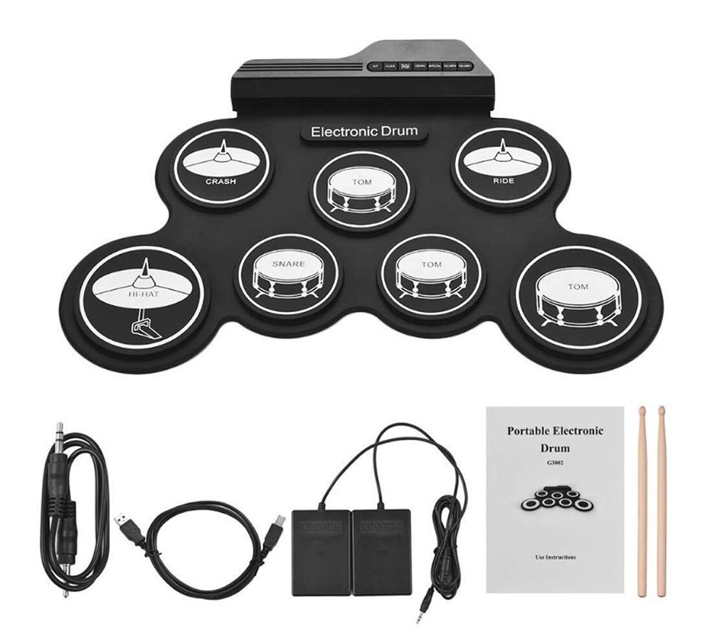 Electronic drum Set,Portable Professional Drum USB Electronic Roll Up Drum Pad Kit with A Three-Dimensional Pattern