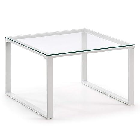 Kave Home - Mesa de Centro Sivan Cuadrada de Cristal y Acero ...