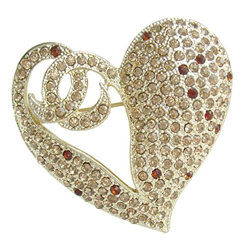 1.97'' Rhinestone Crystal Love Heart Brooch Pin Pendant BZ4831 (Gold-Tone Yellow) by Sindary Jewelry