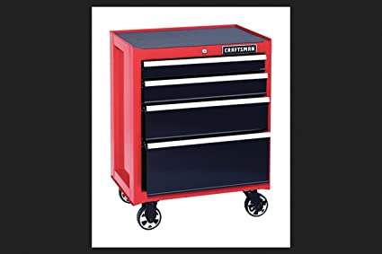 Craftsman 4 Drawer Heavy Duty Rolling Bottom Tool Cabinet (red)