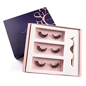 Arison 3D Eyelashes Kit False Fake Lashes 3 Pair Package with Tweezer Set Wispy Strips Silk Reusable Handmade Long Fur Soft Dramatic Natural Look for Women Makeup(LH-27)