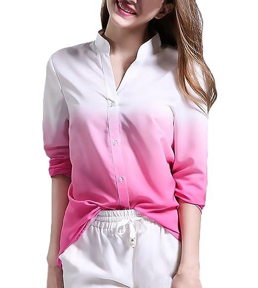 BIRAN Camisas Mujer Manga Larga Elegantes Moda Gradiente De Color Sólido Blusa Stand Cuello Con Botones