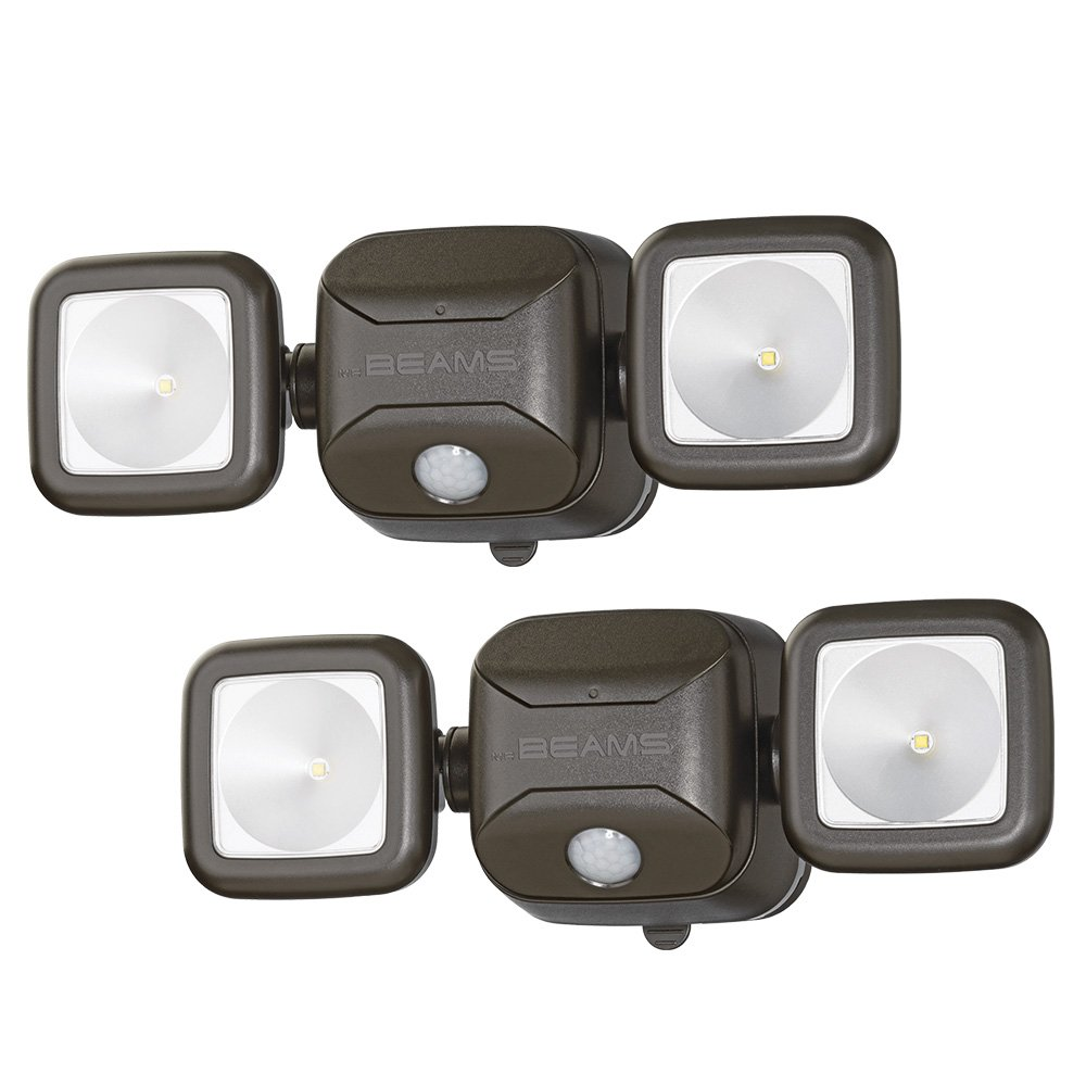 Mr. Beams MB3000 High Performance Wireless Battery Powered Motion Sensing Led Dual Head Security Spotlight, 500 Lumens, Brown, 2 Pack