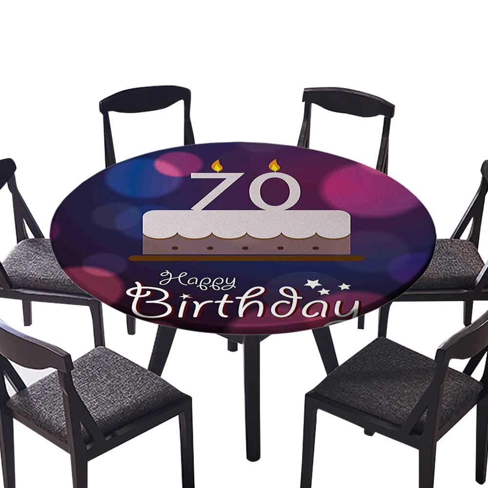 プレミアムラウンドテーブルクロス 70歳のお祝い 手書きバースデーパーティーイメージ ホットピンク 日常使用 (エラスティックエッジ) 55