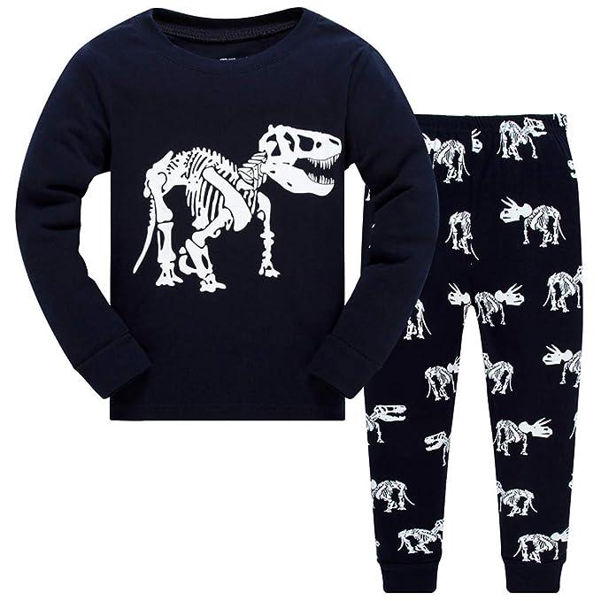 4fe1fe55a6 Zilee Niño Pijamas Algodón Conjunto de Pijamas Manga Larga Ropa de Dormir 2  piezas Dinosaurio Conjuntos