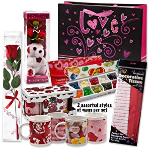 """Valentine Gift Set; Complete with Gift Bag, Tissue Paper, White Rose, """"I Love You"""" Mini Bear, 2 Valentine Mugs & Jelly Belly 10 Flavor Gift Box!"""