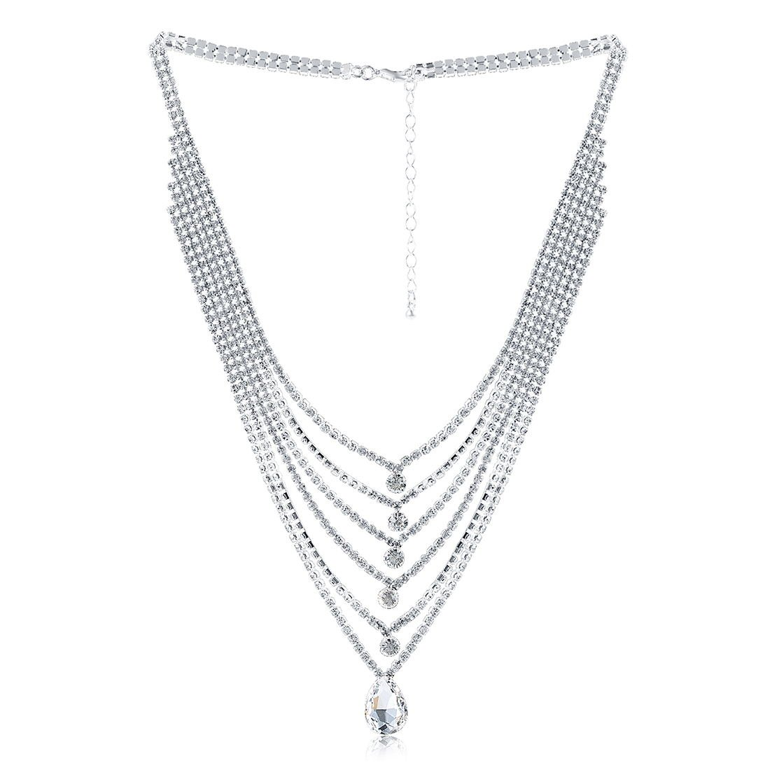 X&WILL Bridal Austrian Crystal Necklace Jewelry Set Gifts fit with Wedding Dress