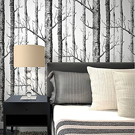 Wapel Black and White Branches Wood Grain Wallpaper Bedroom ...