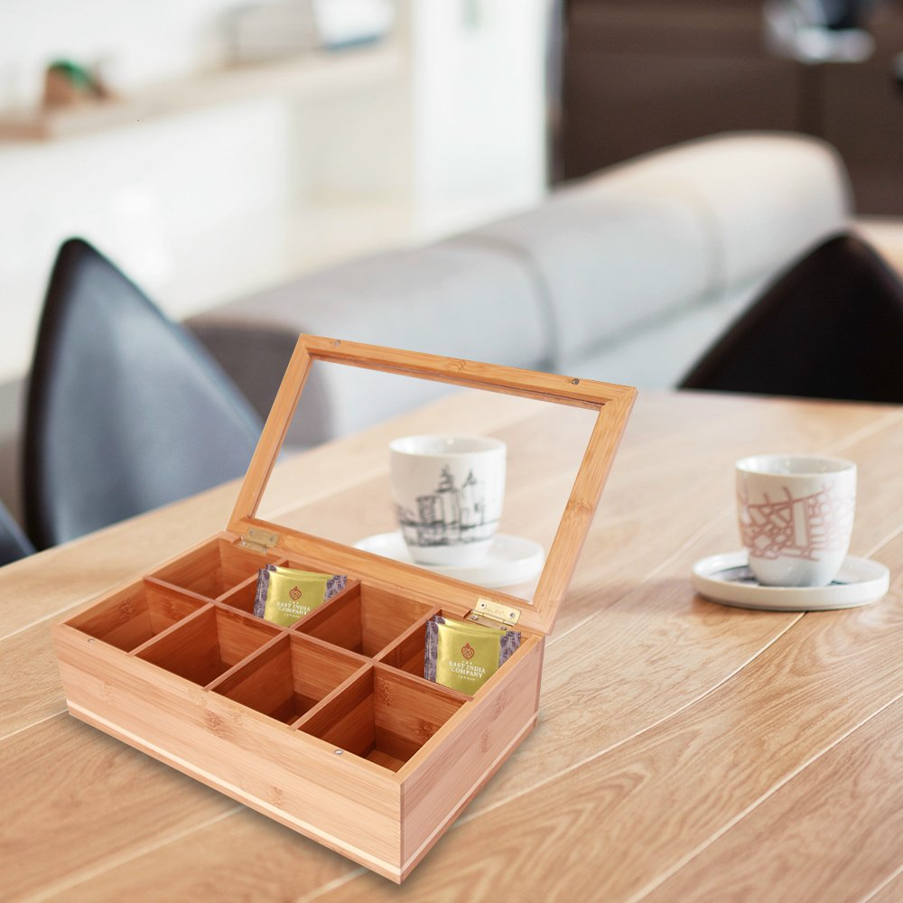 Everything Bamboo Wooden Tea Bag, Condiment or Small Accessories Storage Organizer Caddy with Clear Lid & 8 Compartments by Everything Bamboo (Image #6)