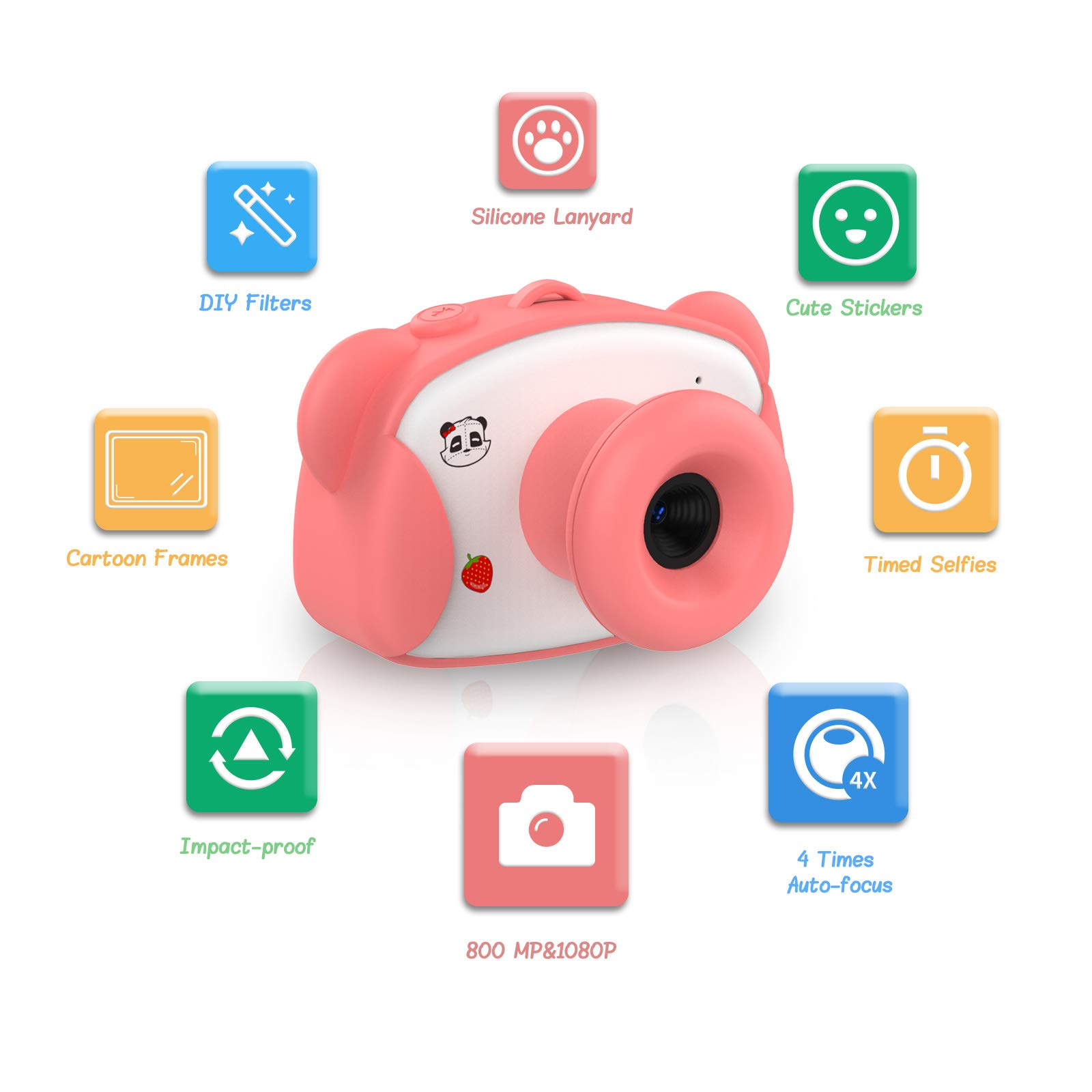 PATCH PANDA Kids Camera for Girls, Digital Video Camera for Kids (16G Memory Card Included) with Creative Stickers and Cartoon Frames, Gift Present for Kids Within 3 to 8 Years Old-Pink by PATCH PANDA (Image #3)