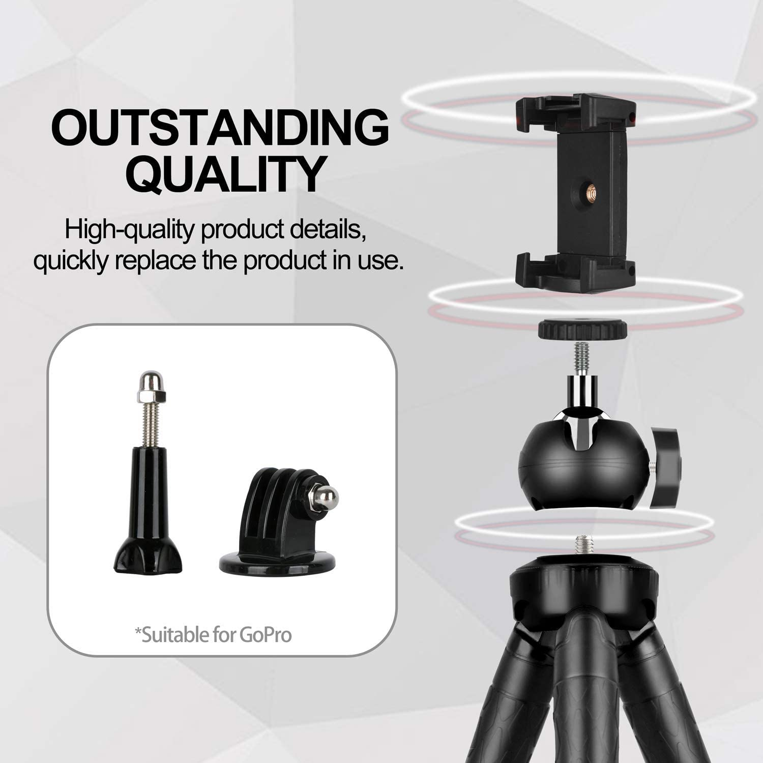 Portable and Flexible Camera Stand Holder with Wireless Remote and Universal Clip Emart Handheld Phone Tripod Compatible with iphone//Android Phone Bendable Tripod Stand for Camera Gopro