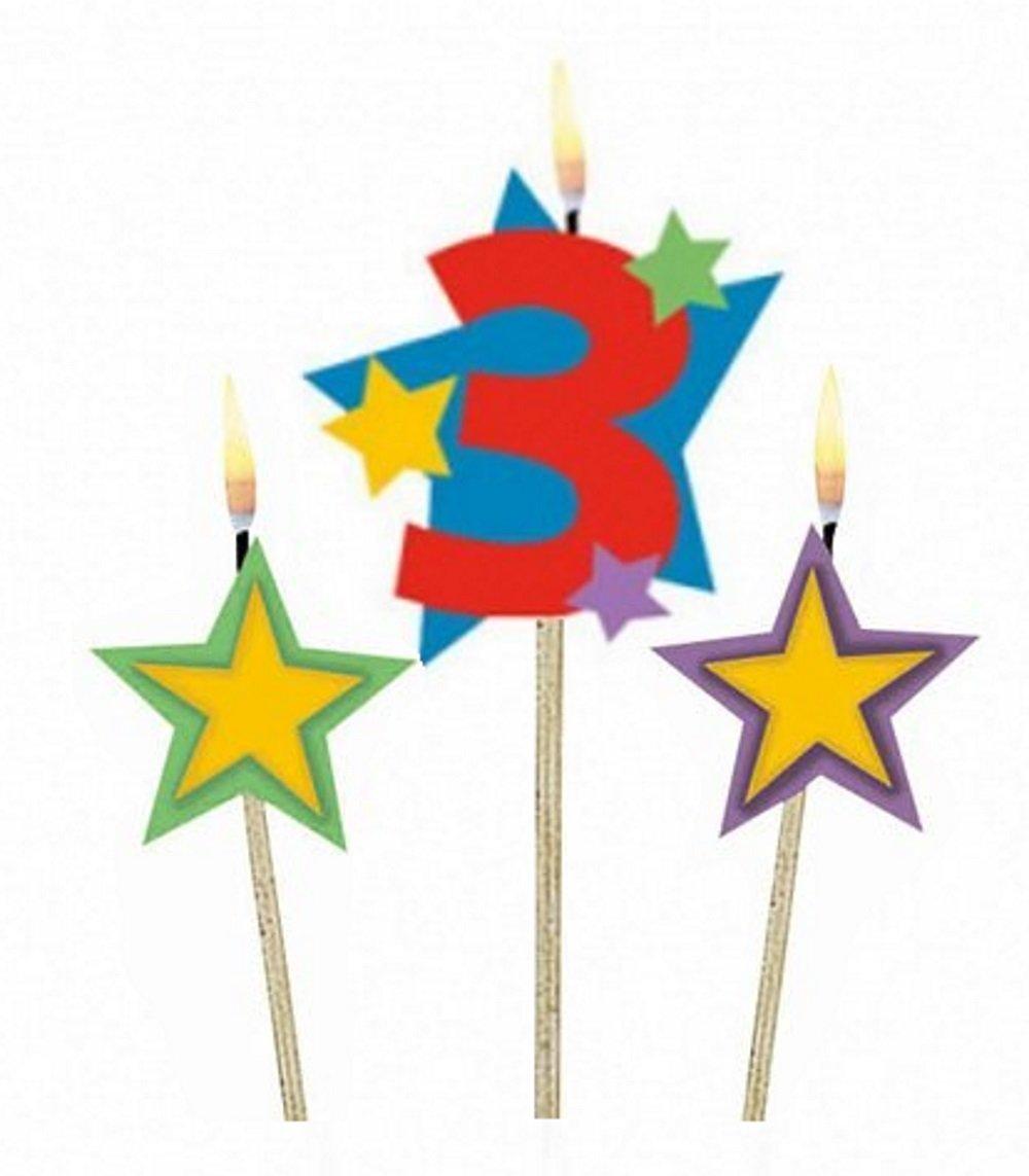 Amscan Geburtstagskerzen 1 Sterne, 3 Stück 3 Stück 175203 Zahlen