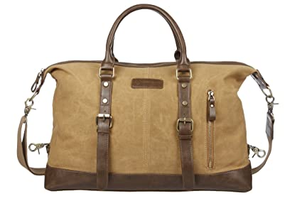 062098639a9a Case4Life Waxed Canvas Overnight Holdall Duffle Bag Water Resistant Travel  Tote + PU Leather Handles +