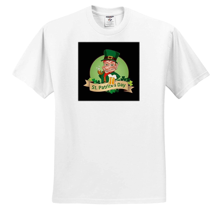 Happy St.Patricks Day with Leprechaun and Drinking Beer 3dRose Sven Herkenrath St.Patricks Day T-Shirts