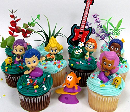 Bubble Guppies 19 Piece Birthday Cupcake Topper Set Featuring 12 Bubble Guppies 2 inch Characters