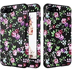 """iPhone 8 Plus Case, UZER Flower Series Shockproof 3 in 1 Soft Interior Silicone Bumper&Hard Shell PC Back Cover Bumper Anti-Scratch Full-Body Protective Case for iPhone 8 Plus 5.5"""" 2017"""