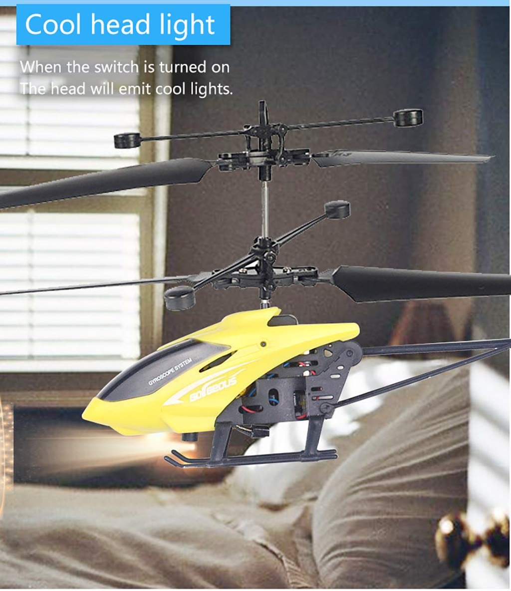 Ahagogo Mini Helicopter Remote Control Helicopter RC Infraed Induction Helicopter Aircraft Flashing Light Toys Brithday Gift (14.5x 6.5 cm, Yellow)