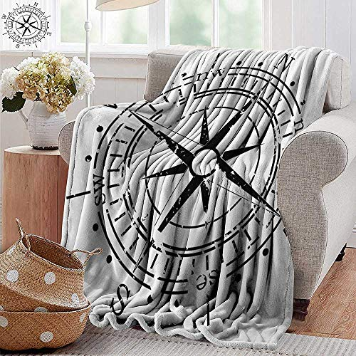 PearlRolan Custom Sofa Bed Throw Blanket,Compass,Black and White Windrose with Simplistic Design Direction Navigation Primitive,Black White,300GSM,Super Soft and Warm,Durable Blanket 30