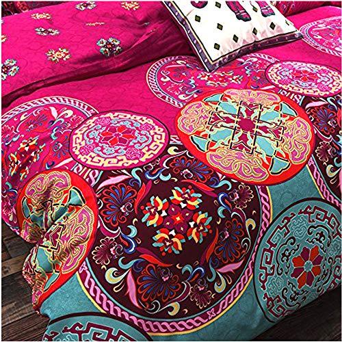 LA MEJOR Queen Size Microfiber Bohemia Exotic Patterns Duvet Cover (Purple)