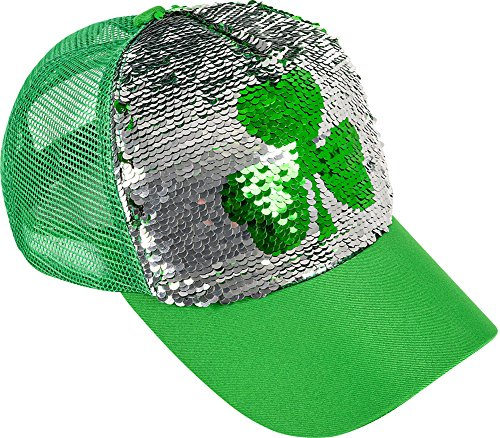 Rhode Island Novelty Saint Patrick's Day Flip Sequin Shamrock Trucker Hat Cap Costume Accessory Green