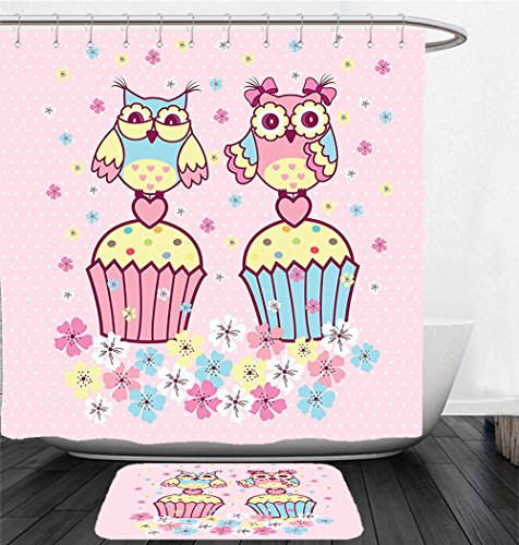 Nalahome Bath Suit: Showercurtain Bathrug Bathtowel Handtowel Owls Two Owl Couples On Cupcakes Springtime Happiness Romantic Occasions Children Art