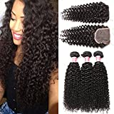 Beauty Princess Burmese Curly Hair Bundles with Closure Free Part 8A Grade 100% Unprocessed Burmese Virgin Hair Wave 3 Bundles With Lace Closure Natural Color (16 18 20+14inch lace closure) Review