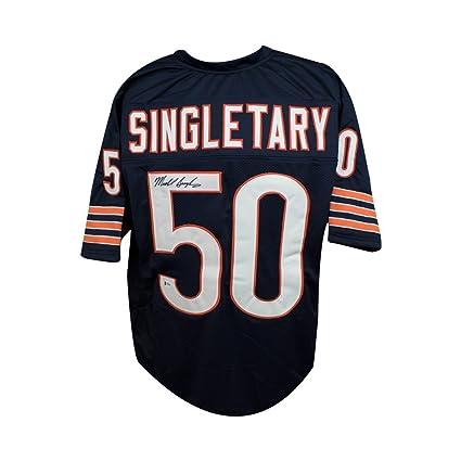best cheap d838b 6cebc Mike Singletary Autographed Chicago Bears Custom Navy ...